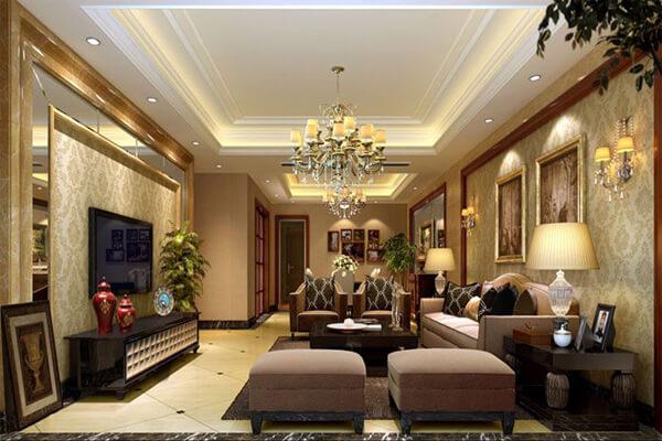 Phòng khách trở nên sang trọng hơn khi kết hợp với đèn chùm