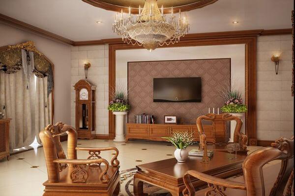Phòng khách trang trí nội thất gỗ tuyệt đẹp
