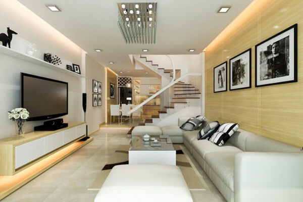 Phòng khách được thiết kế đẹp mắt với cầu thang