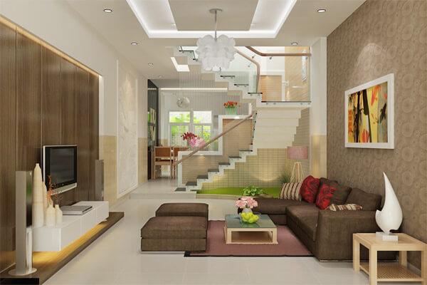 Phòng khách nhà ống được thiết kế liên thông bếp