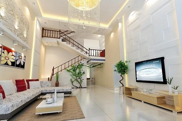 Phòng khách trở nên sang trọng hơn với thiết kế cầu thang